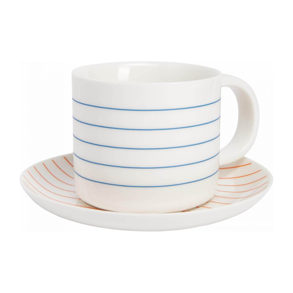 Tea cup et soucoupe made of porcelain, with red stripes n°1