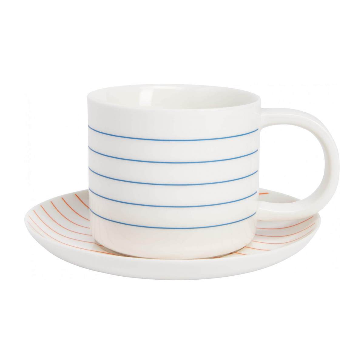 Tea cup et soucoupe made of porcelain, with red stripes n°2