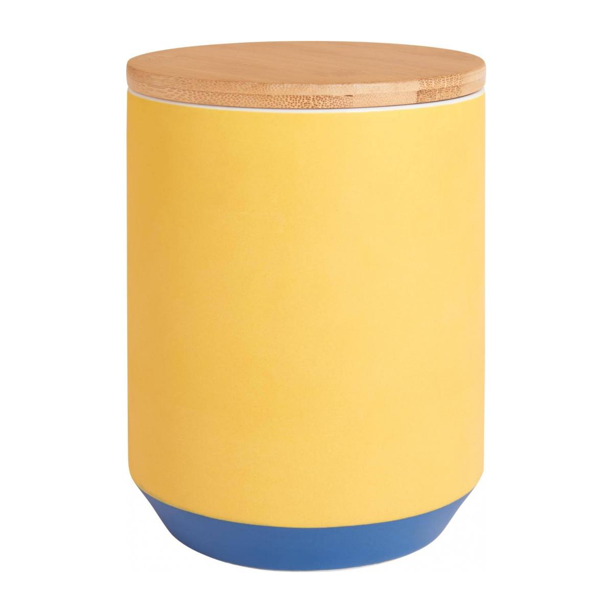 Box made of porcelain and bamboo 16cm, yellow n°1