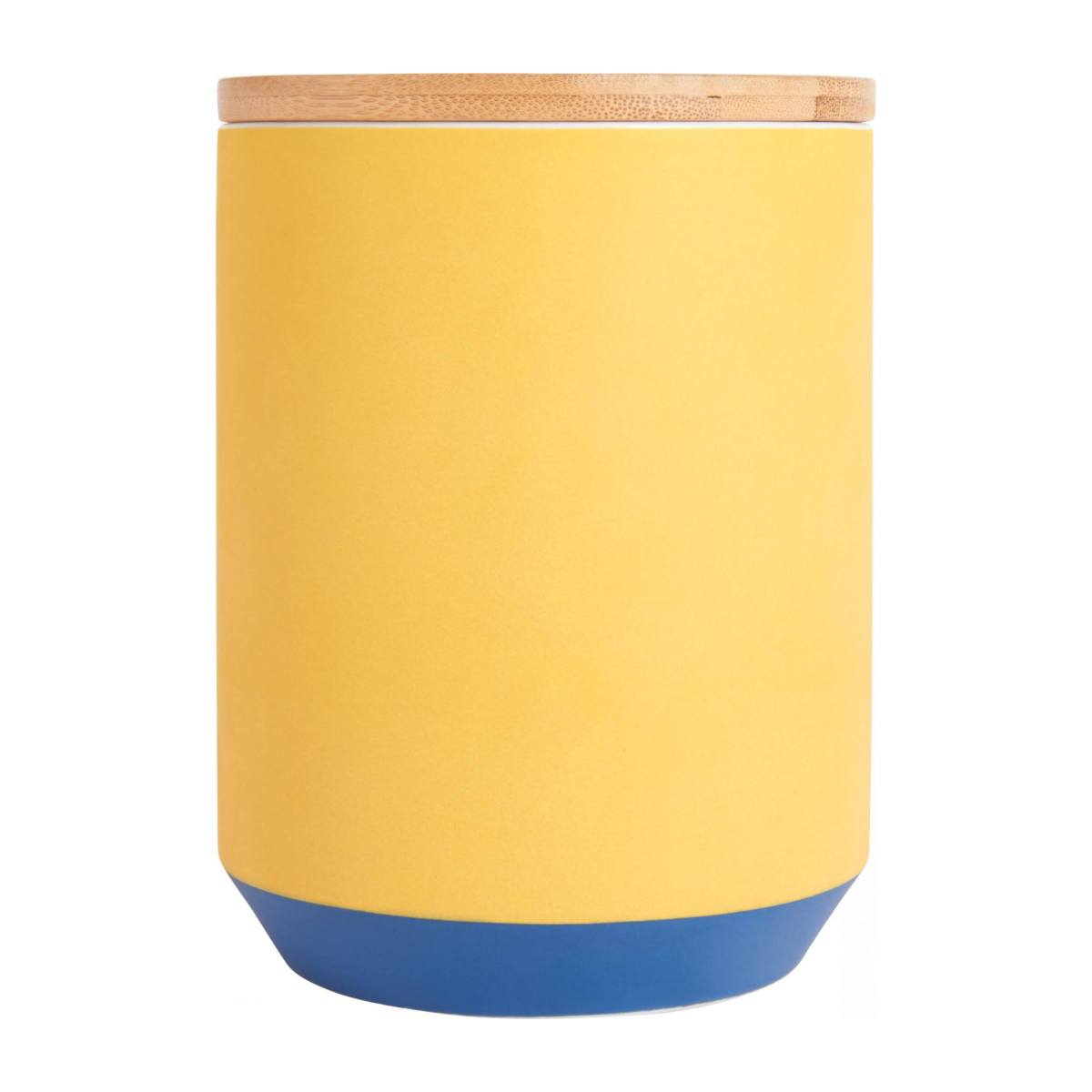 Box made of porcelain and bamboo 16cm, yellow n°2