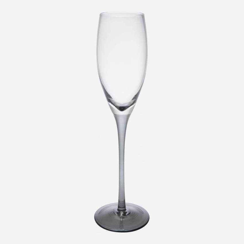 Champagne glass made of smoked glass