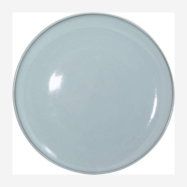 Service porcelain plate 33cm, brown and green - Design by Perla Valtierra
