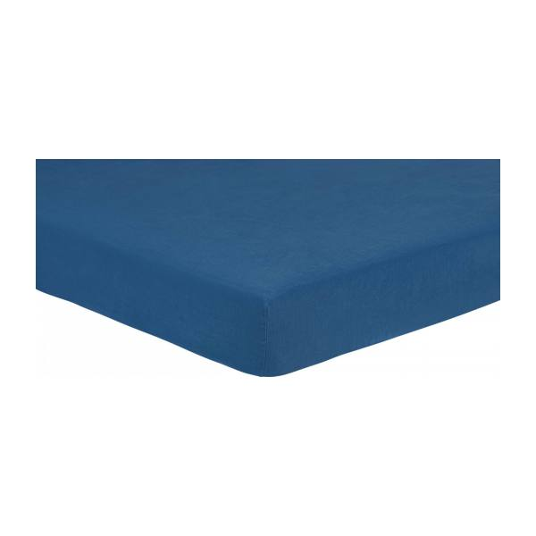 Fitted sheet made of flax 140x200cm, blue