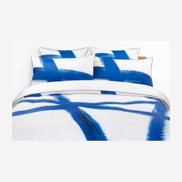 Printed Cotton Duvet Cover Blue and White 200x200cm