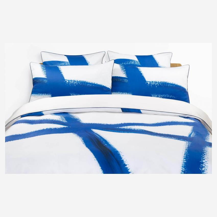 Printed Cotton Duvet Cover Blue and White 260x240cm