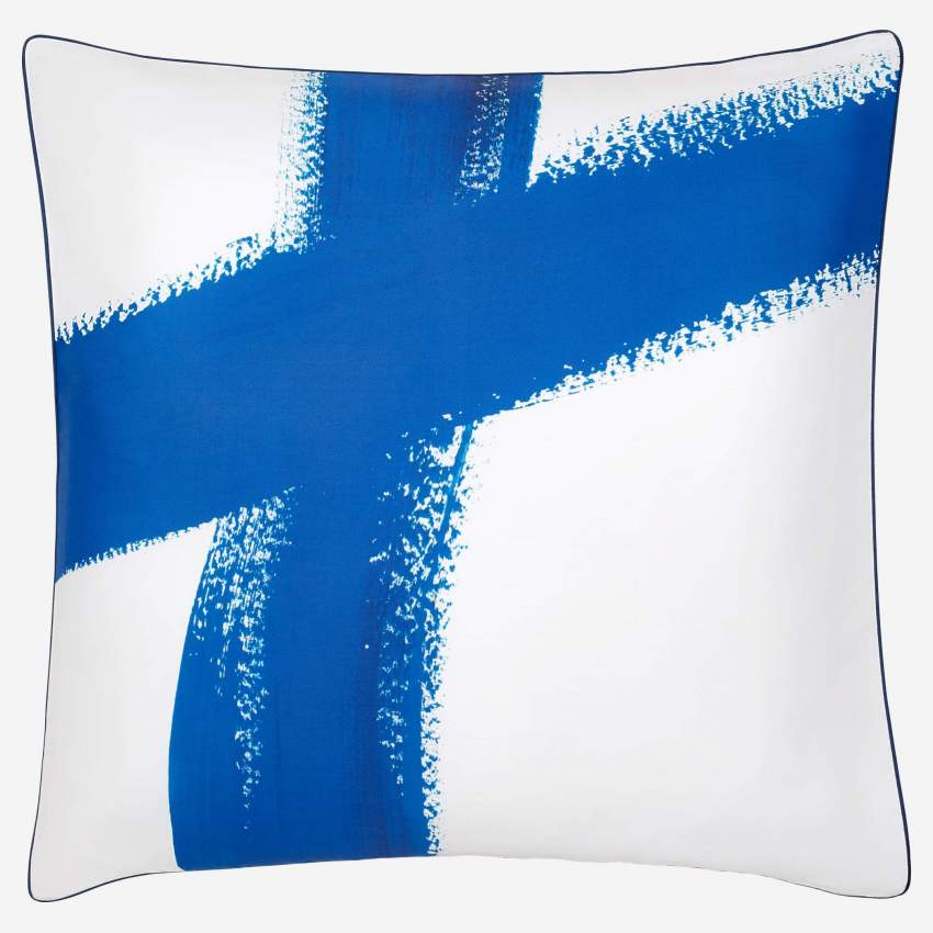 Printed Cotton Pillow Case Blue and White 65x65cm
