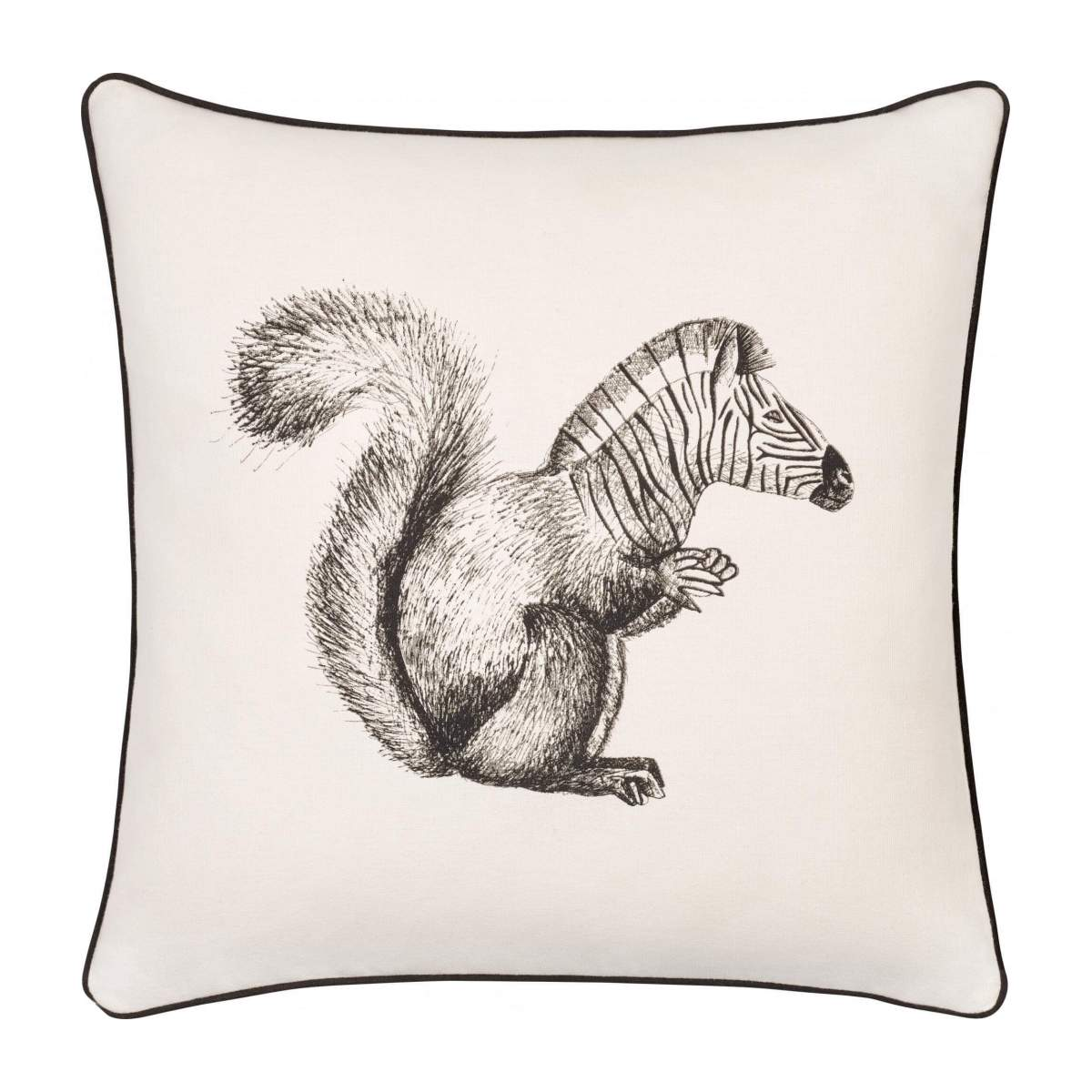 Squirrel Patterned Printed Cotton Cushion 40x40cm n°1