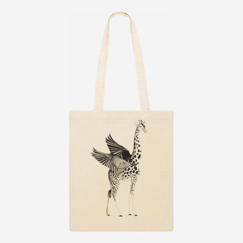 Black and White Patterned Cotton Shopping Bag 35x40cm