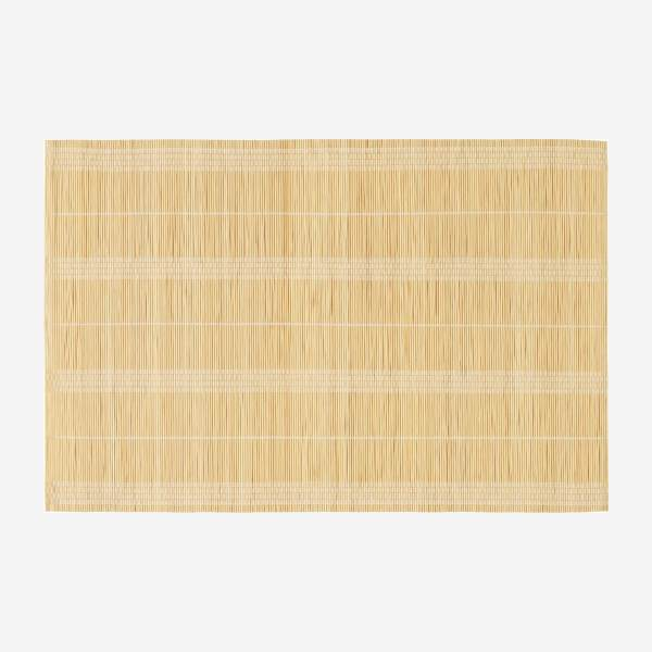 Set of 2  white Patterned Bamboo Placemats
