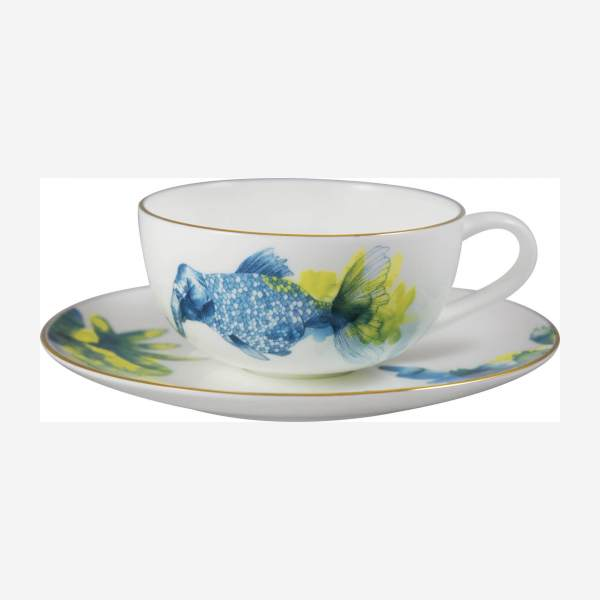 Luna Patterned Porcelain Coffee Cup and Saucer