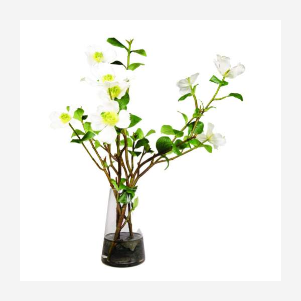 """Composition of white dogwood branches and """"magic water"""" 56cm"""