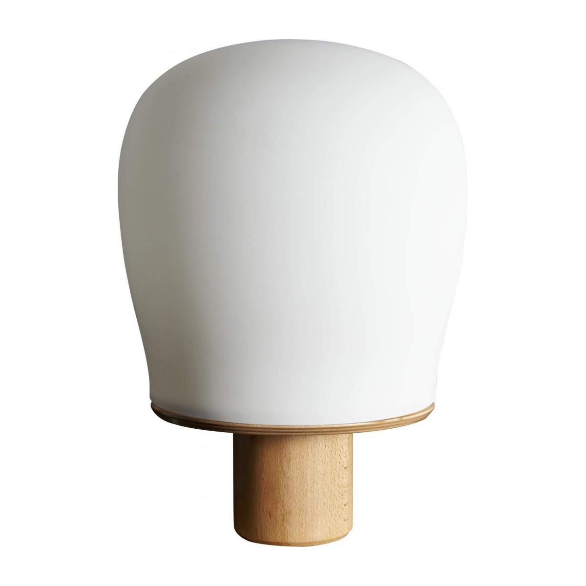 Oak frosted glass table lamp n°1
