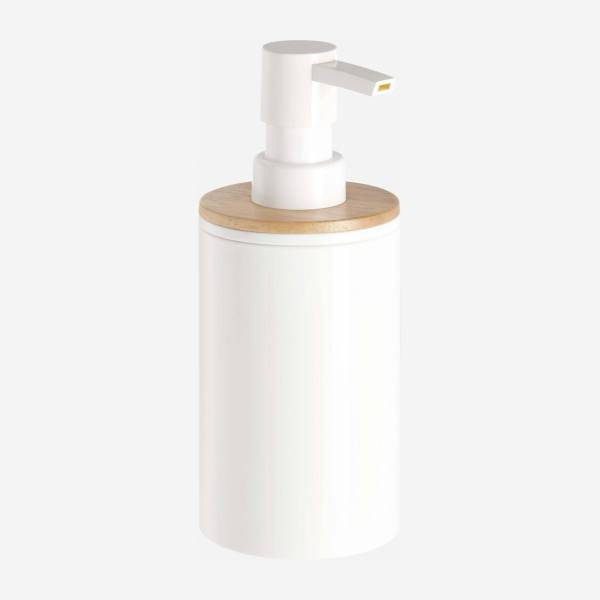 Lotion bottle with rubber wood
