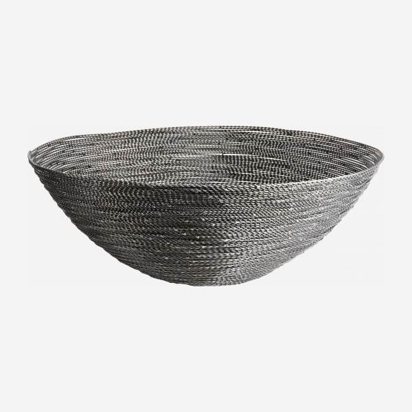Large grey twisted wire bowl