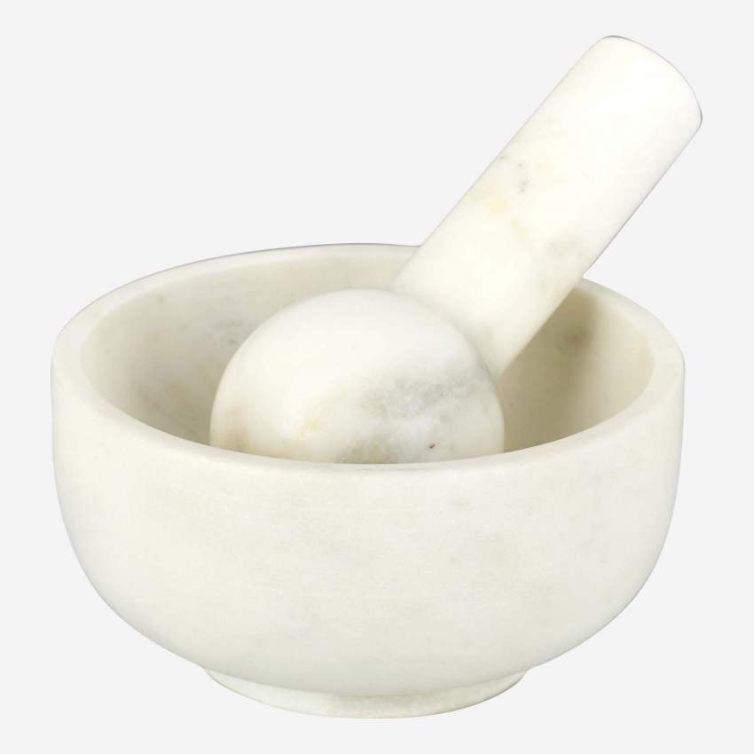 White marble pestle and mortar