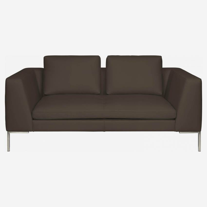 2 seater sofa in Eton veined leather, stone
