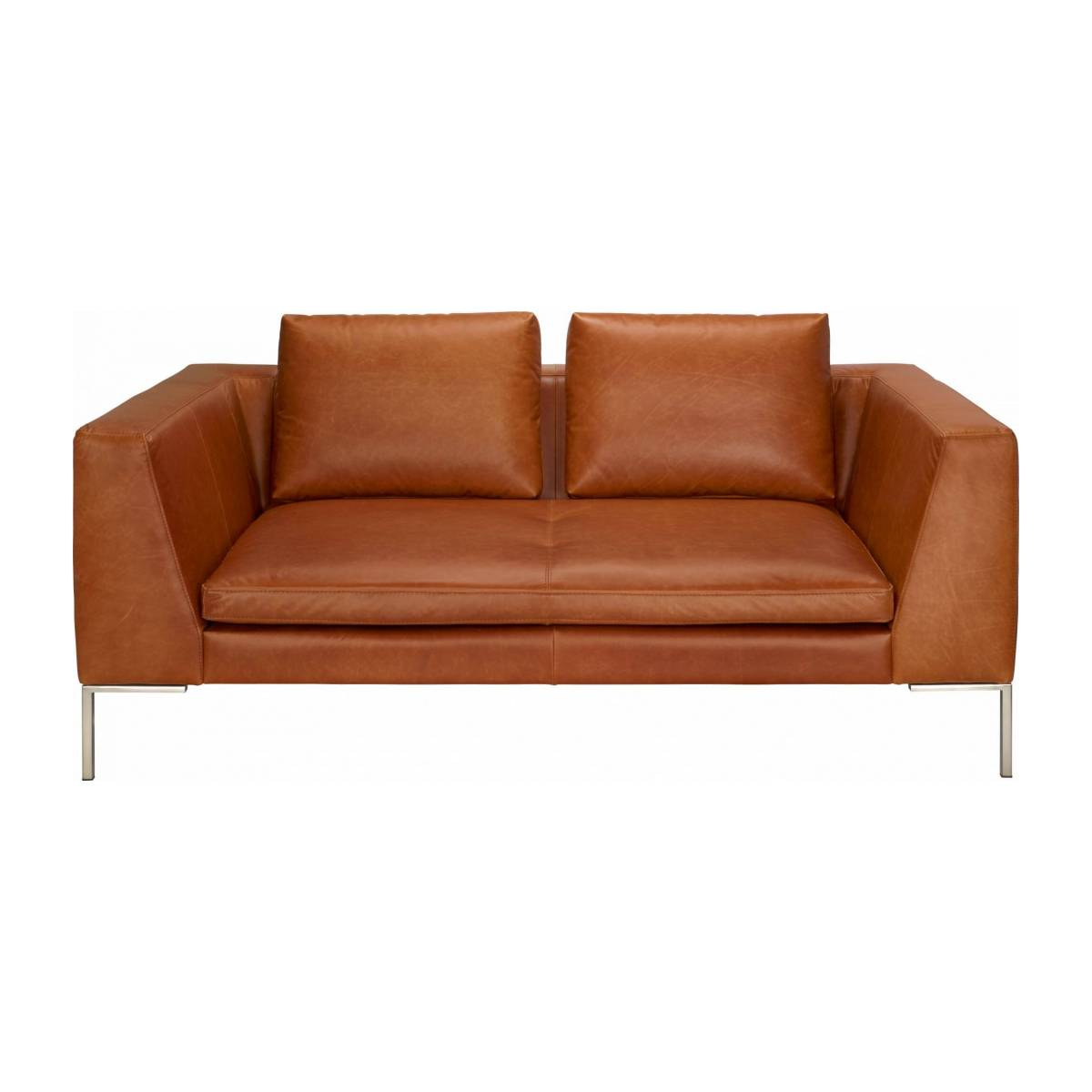 2 seater sofa in Vintage aniline leather, old chestnut n°2
