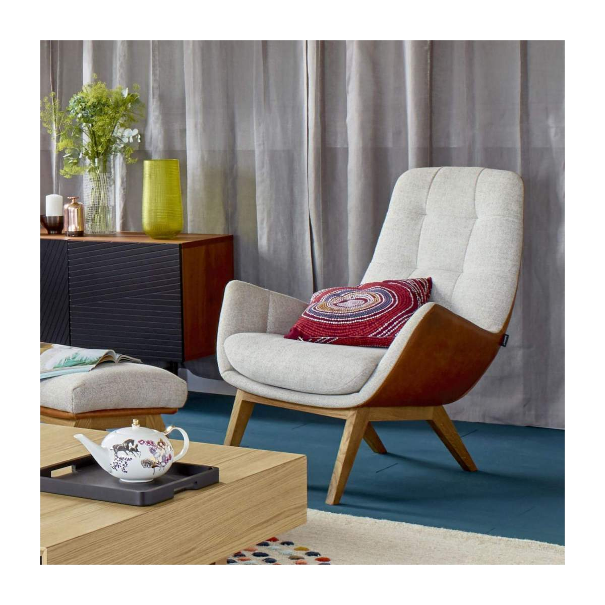 Armchair in Lecce fabric, nature and brown vintage leather with oak legs n°2