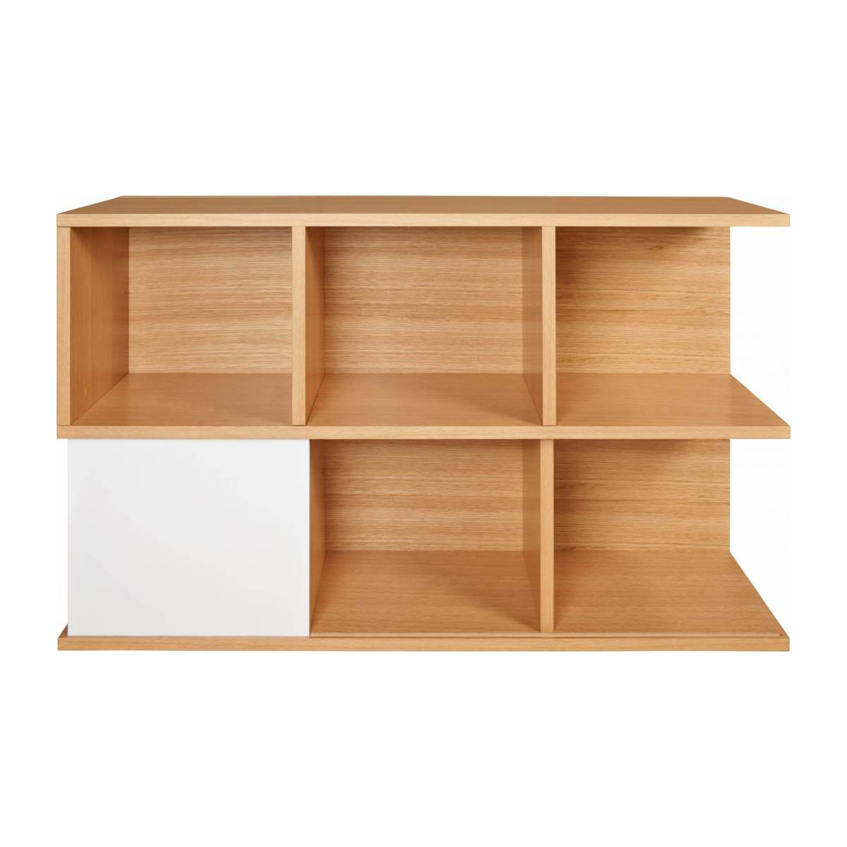 Low bookcase, oak and white n°2