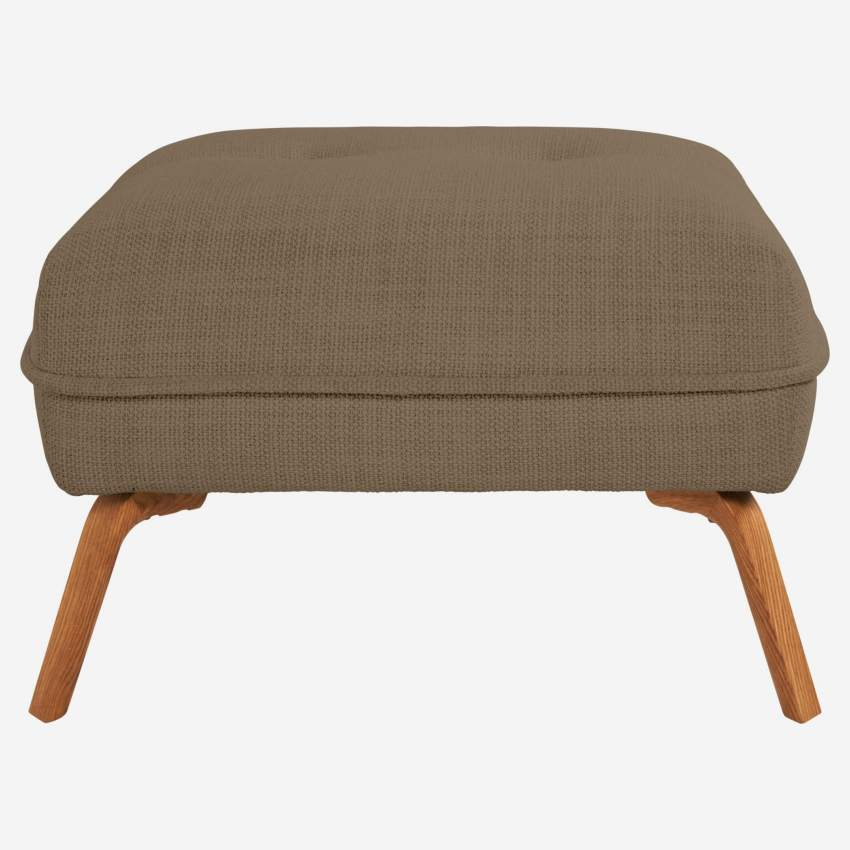 Footstool in Fasoli fabric, jatoba brown and oak legs