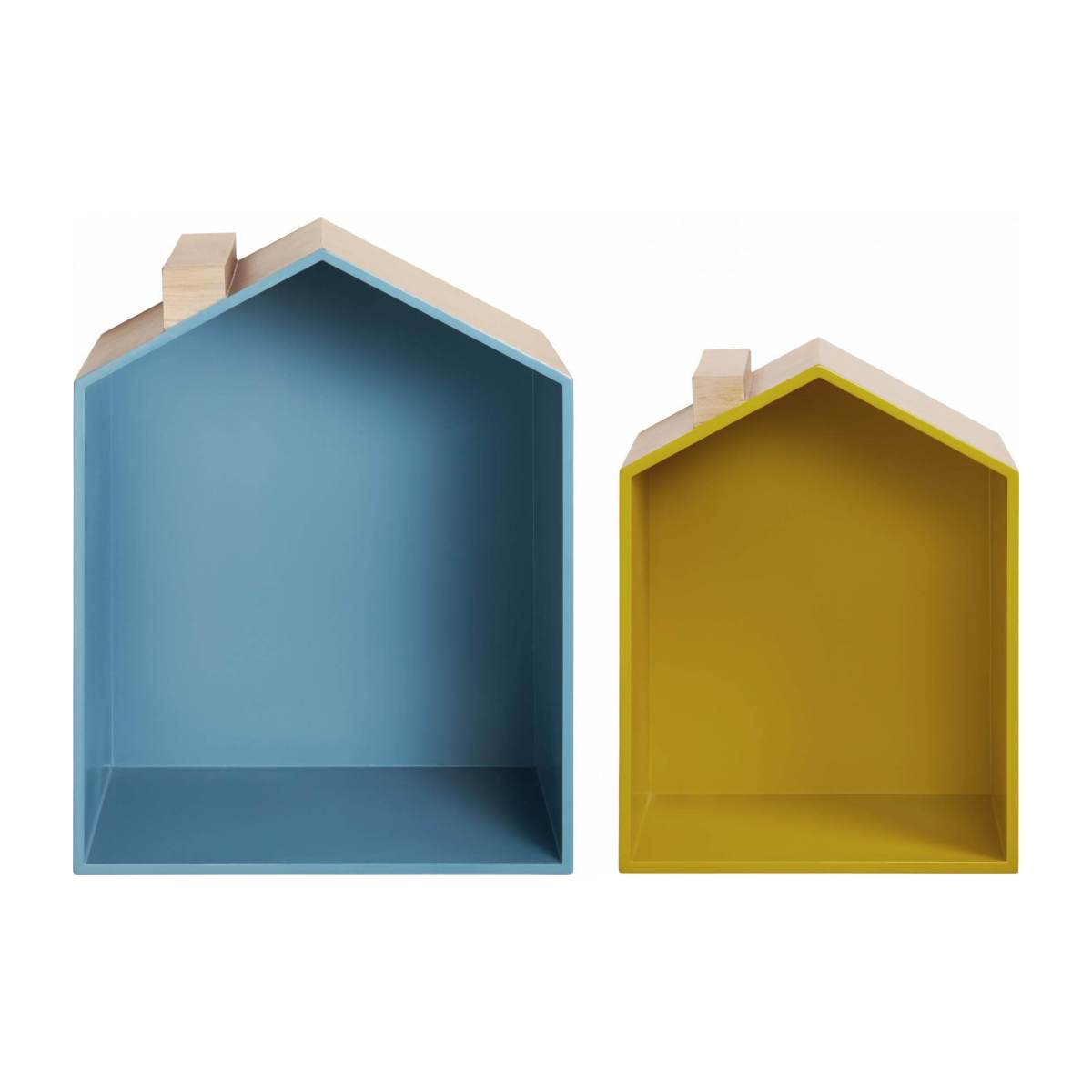 Set of 2 shelves made of oak, natural, grey-blue and yellow n°2