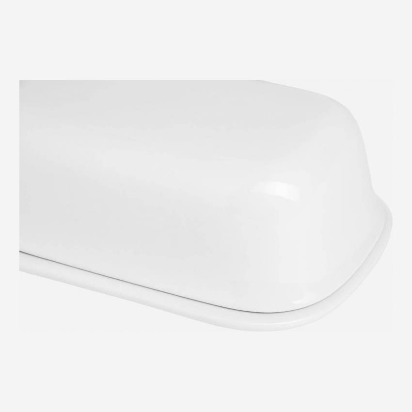 Butter dish in porcelain, white