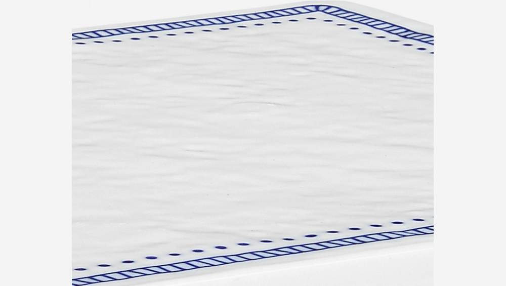 Chopping board made of porcelain 17x29cm, white and blue