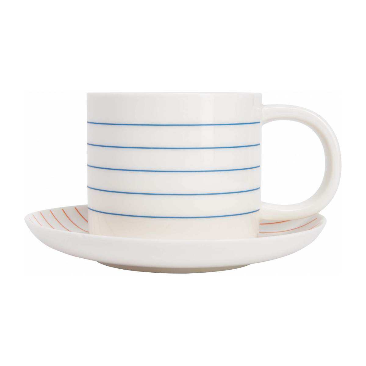Tea cup et soucoupe made of porcelain, with red stripes n°3
