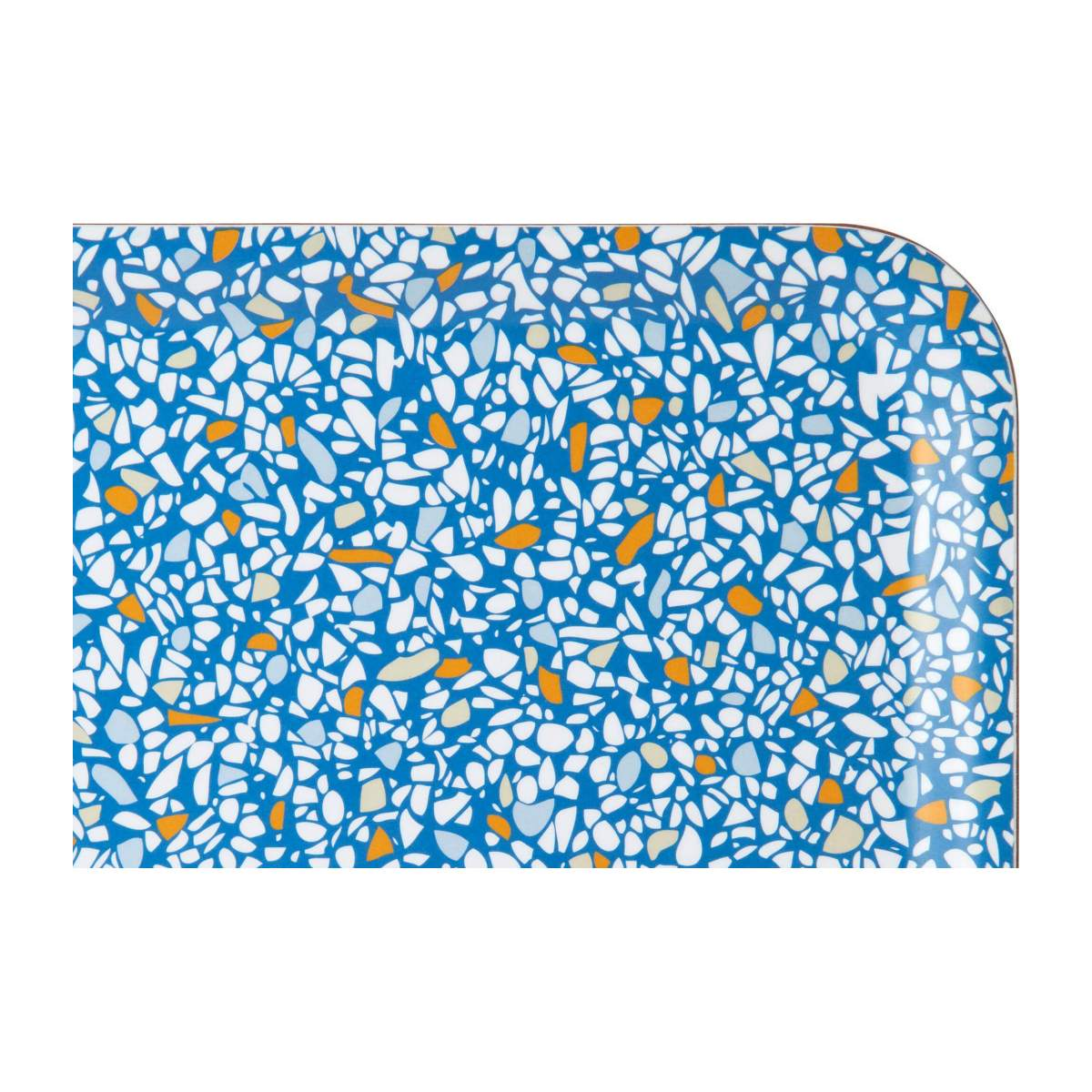 Rectangular tray 21x27cm, with blue terrazzo patterns n°3