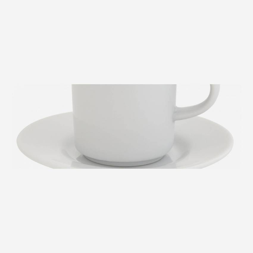Porcelain coffee cup and saucer - White