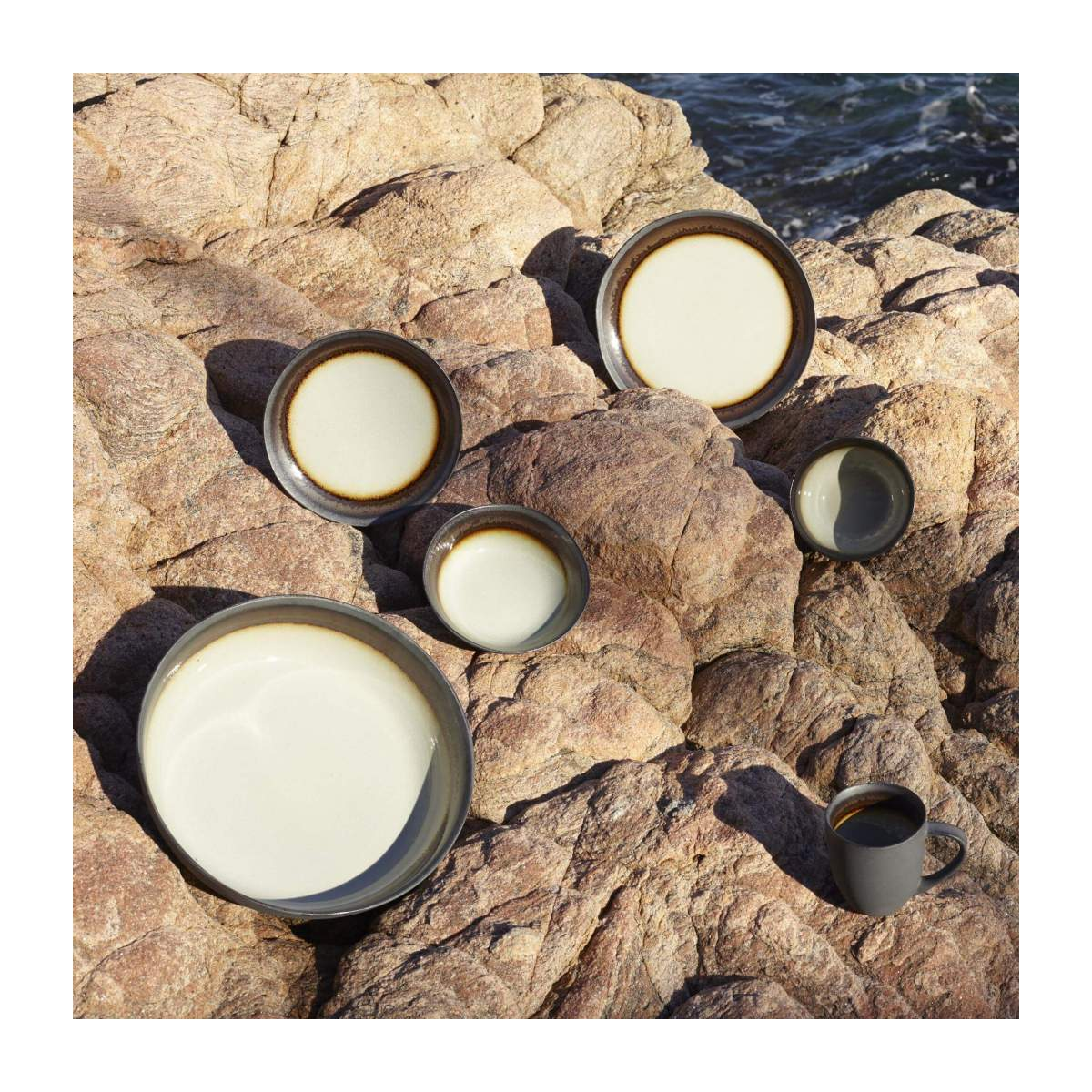 Dessert plate made of sandstone 22cm, grey and brown n°5