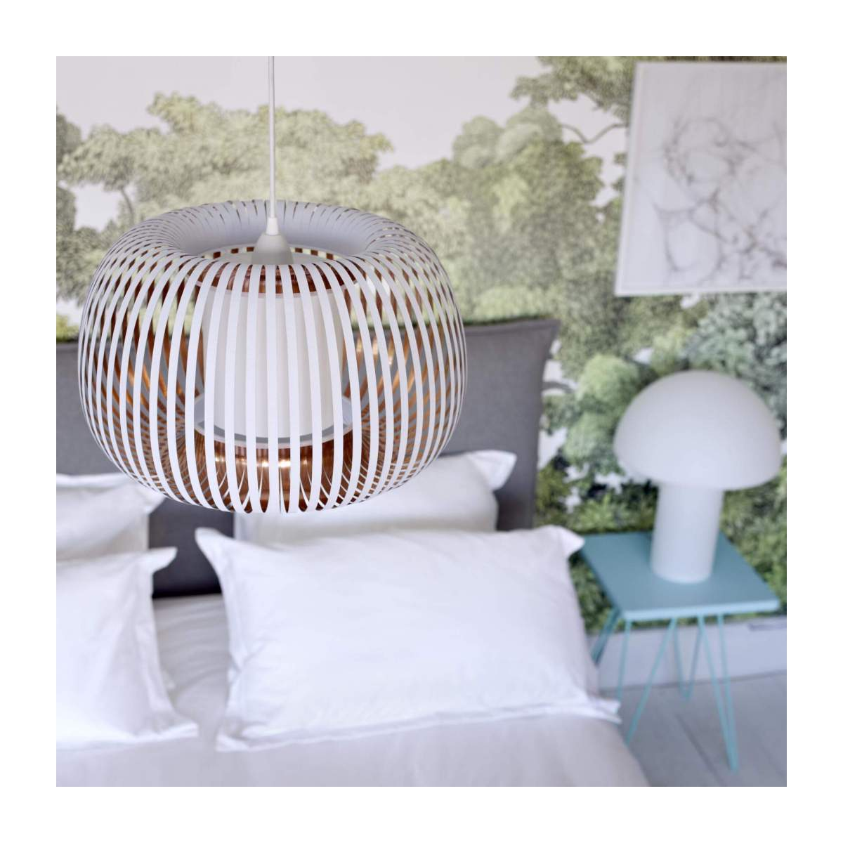 Ceiling lamp in PVC, white and copper n°6