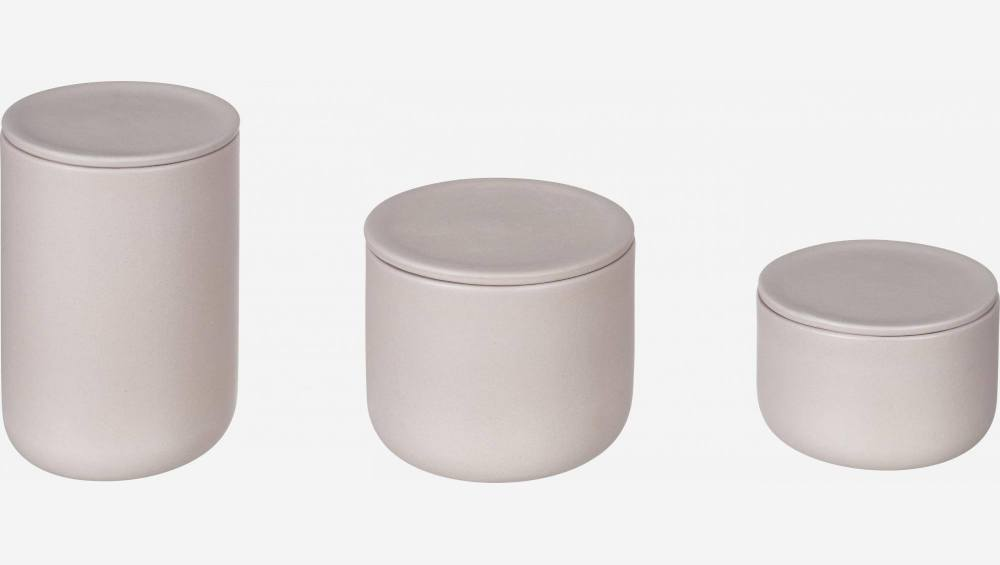 Stoneware Grey Boxes Set of 3 with lids