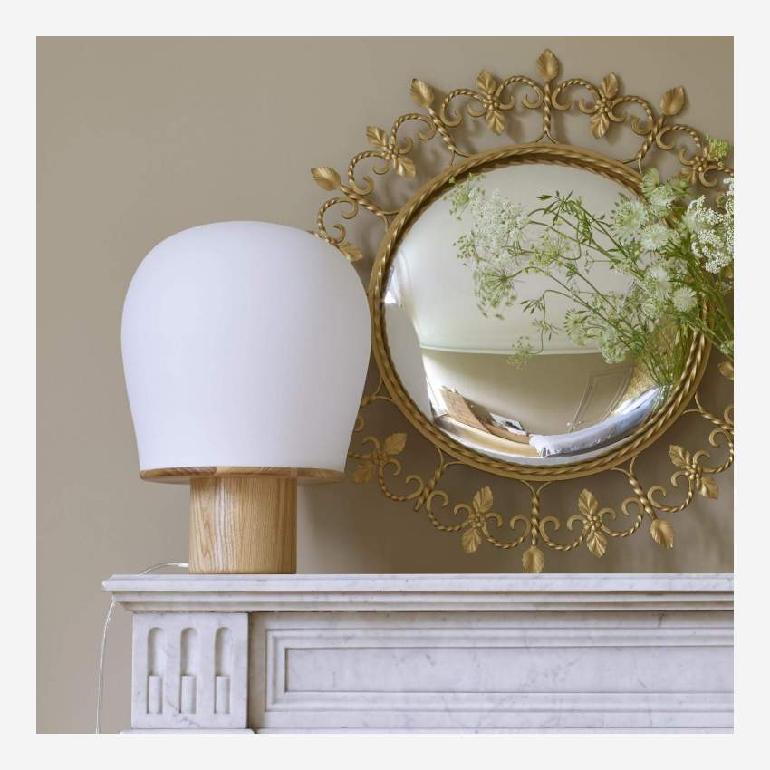 Oak frosted glass table lamp