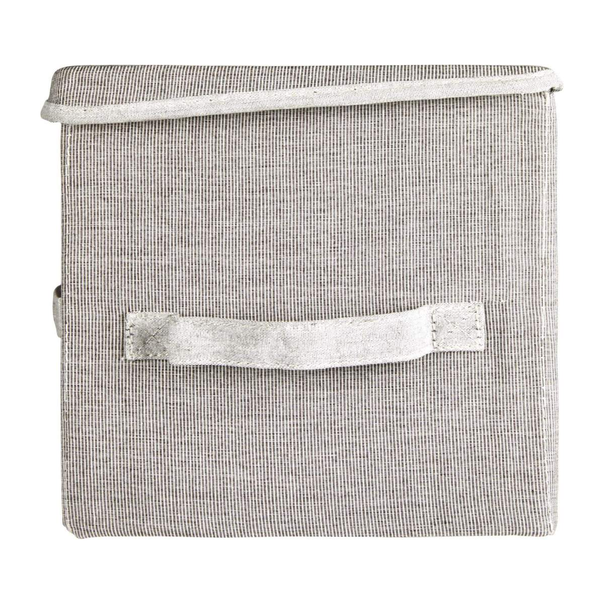 Large Storage basket, grey fabric and bamboo n°5