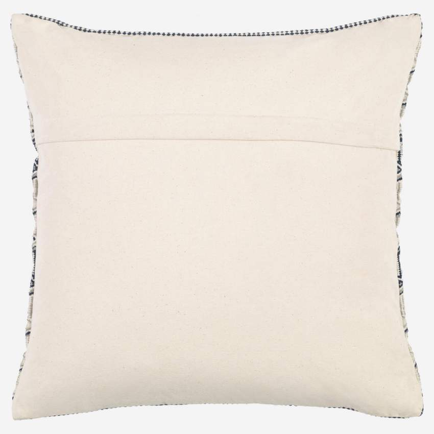 Cushion 45x45cm, beige and blue