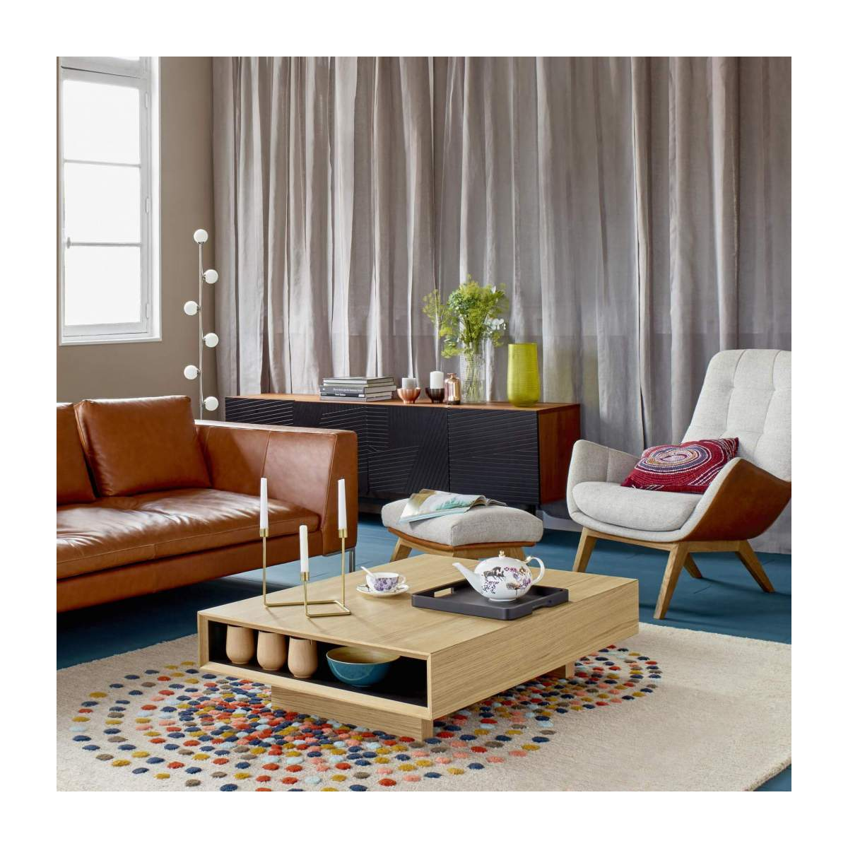 Hand tufted carpet made of wool 250x350cm mulitcolor n°4