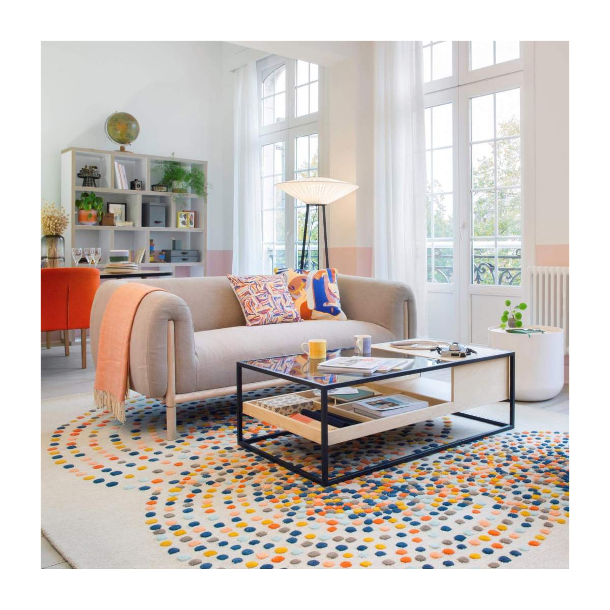 Hand tufted carpet made of wool 250x350cm mulitcolor n°5