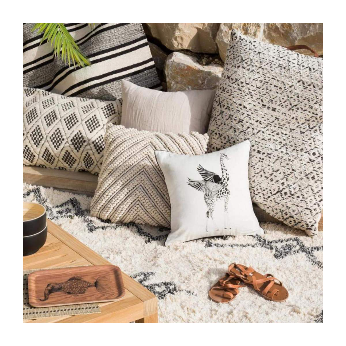 Squirrel Patterned Printed Cotton Cushion 40x40cm n°5