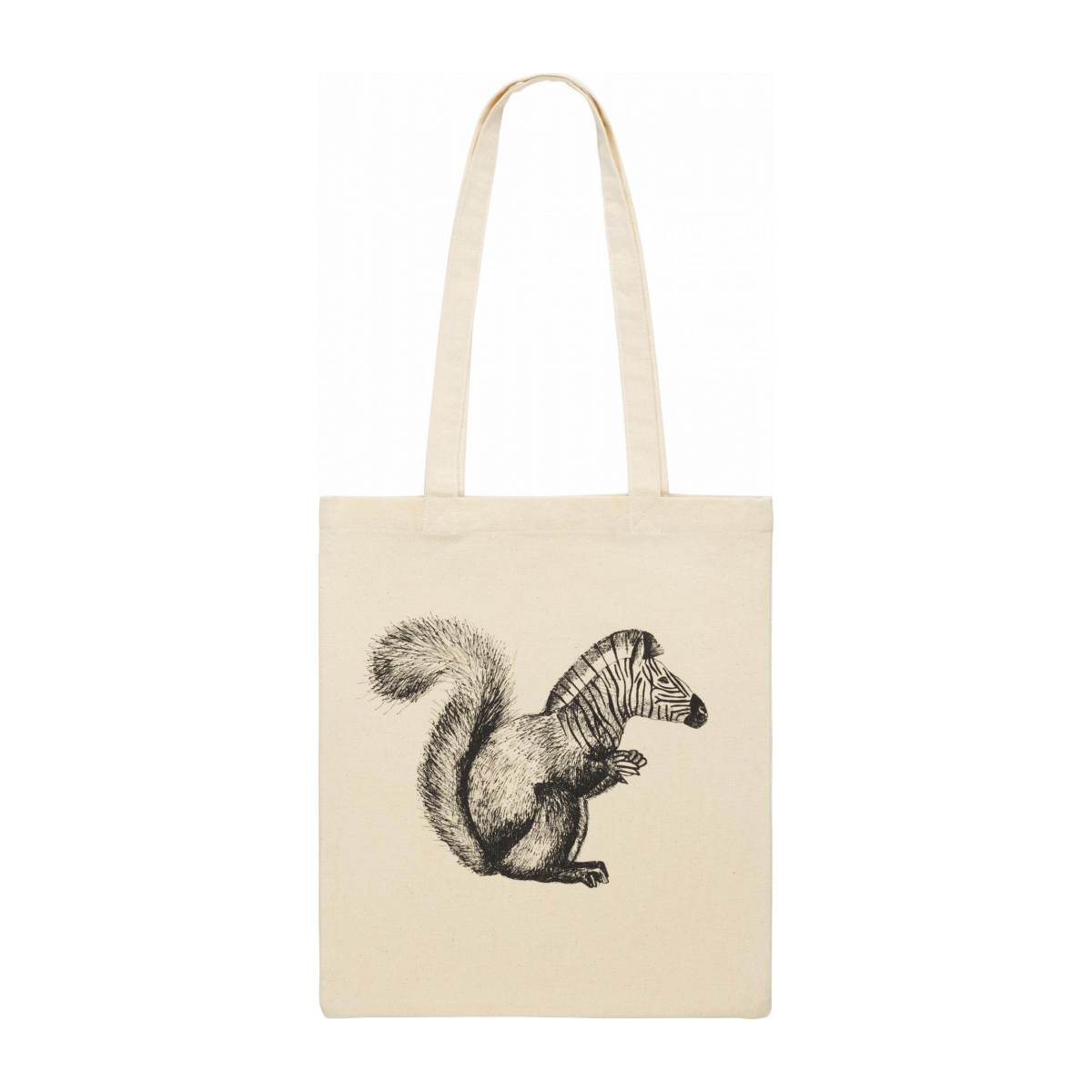Black and White Patterned Cotton Shopping Bag 35x40cm n°2