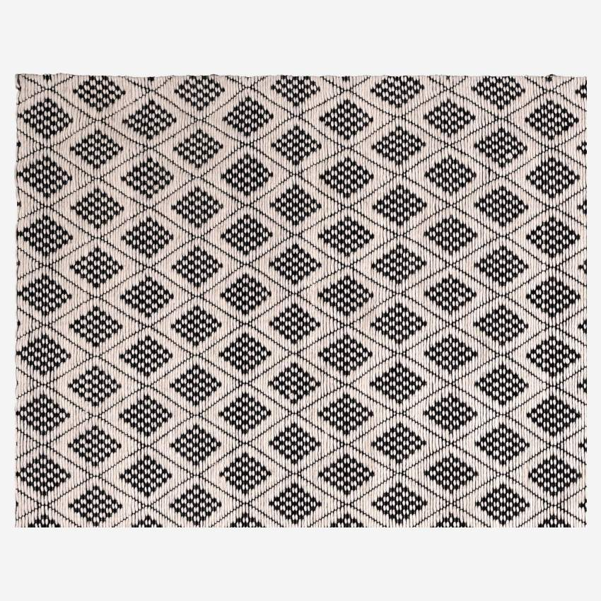 Woven Wool Rug Black and White 170x240cm