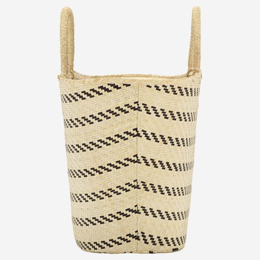 Palm Tree Leaf Beach Bag Black and White