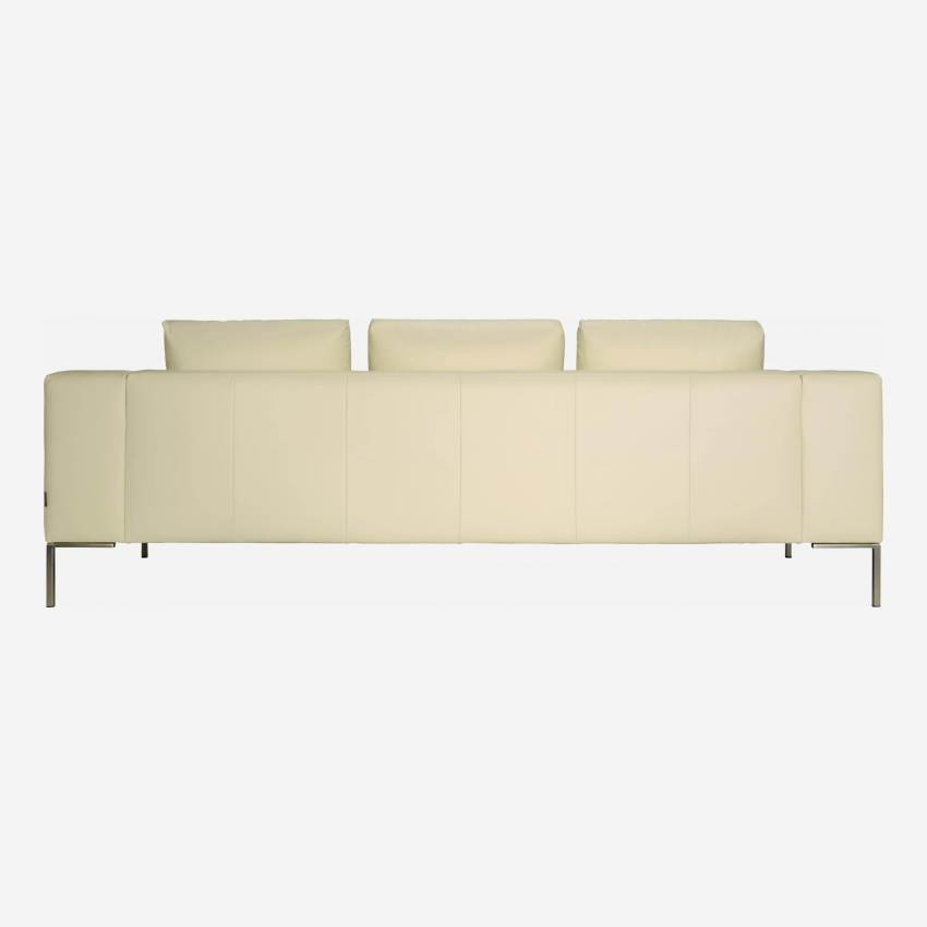 3 seater sofa in Eton veined leather, cream