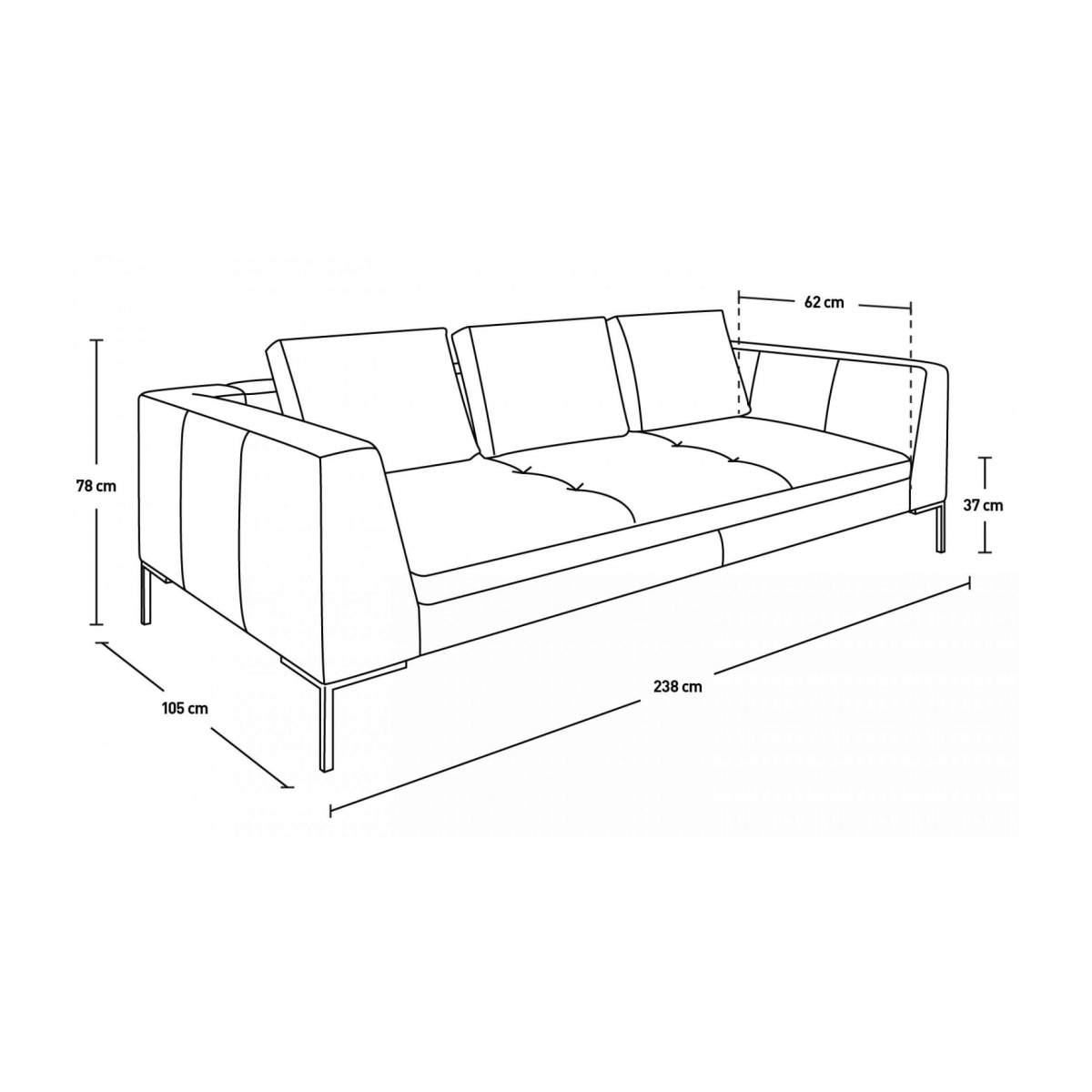 3 seater sofa in Eton veined leather, stone n°9