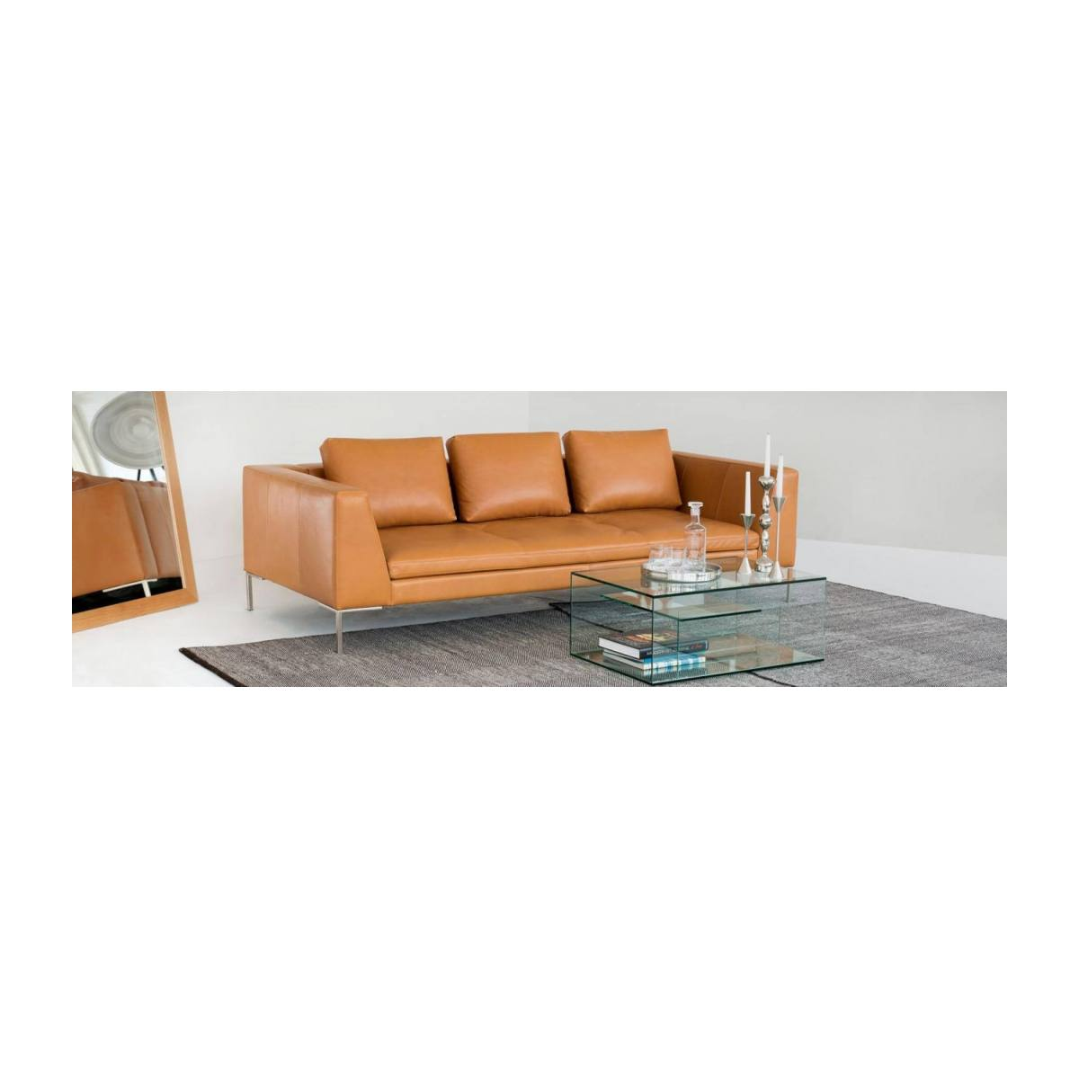 3 seater sofa in Eton veined leather, stone n°10