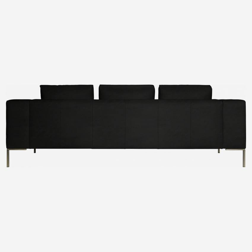 3 seater sofa in Eton veined leather, black