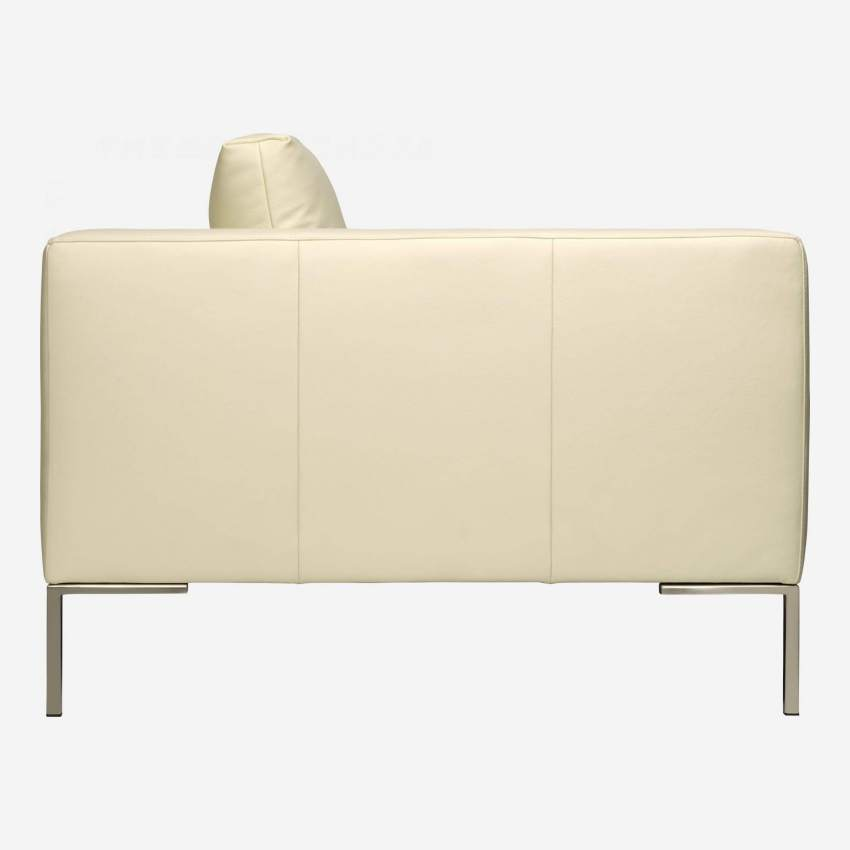 2 seater sofa in Eton veined leather, cream