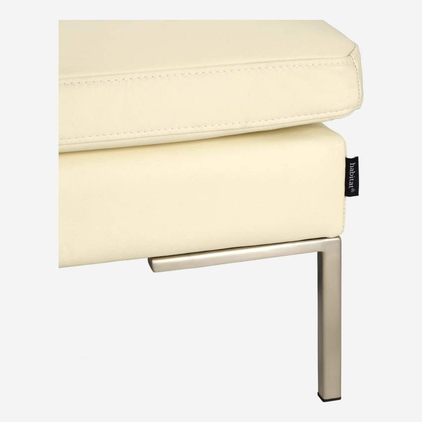 Footstool in Eton veined leather, cream