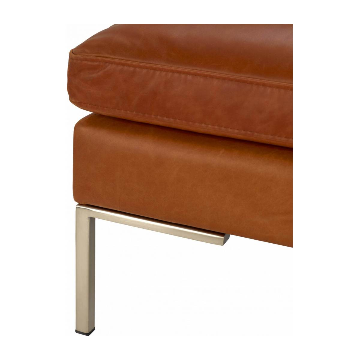 Footstool in Vintage aniline leather, old chestnut n°5