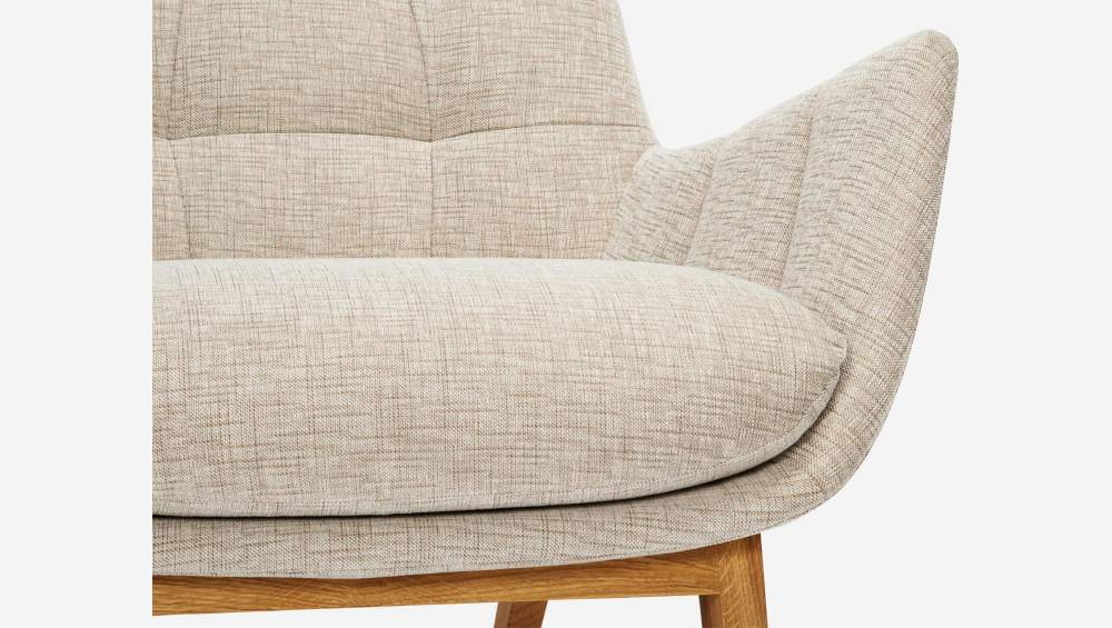 Armchair in Ancio fabric, nature with oak legs